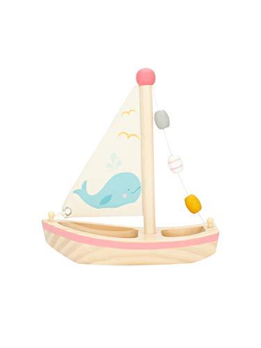 Bieco Segelboot Spielzeug Kinder | Holz Spielzeug 20x18 cm | Wasser Spielzeug | Schiff Spielzeug mit Segel | Boot Spielzeug für Wasser | Holzboot Schwimmfähig | Strand Spielsachen | Segelboot Deko