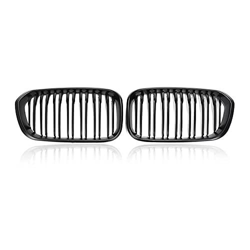 ZHJNB Tela de riñón para Parachoques, 1 par del Frente de Coche para BMW F20 F21 LCI 5D 1-Series 3D 120i 2015-2017 Racing Grille Negro Brillante 1 Llantas,2matte Black 2 Slat