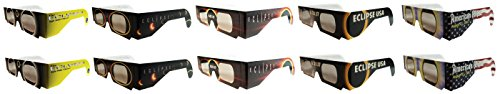 Eclipse Glasses - CE Certified Safe Solar Eclipse Glasses – 10pk Assorted- Eye Protection (Styles May Vary)