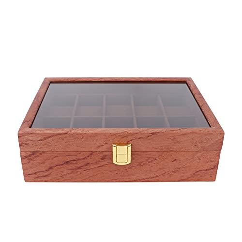 WNSC Caja de visualización de Relojes, Caja de Madera para Relojes, Vitrina de joyería, 10 Ranuras, Caja de Almacenamiento de Relojes, portátil, fácil de Limpiar, para el hogar, para Viajes de