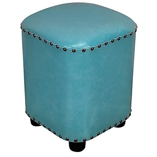 JXJ Taburete otomano de piel sintética de poliuretano, asiento acolchado para cambiar, color opcional (color: azul lago, tamaño: 30 x 30 x 40 cm)