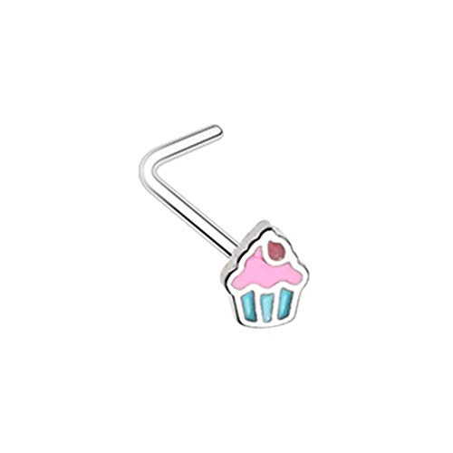 20 GA 316L Stainless Steel Icing to my Cupcake L-Shape Nose Ring Body Jewelry Piercing DavanaBody