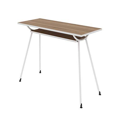 LEVIRA – Mesa de Oficina, Escritorio, Mesa de Ordenador, Kost ARC - 100 x 75 - Nogal Tróia Y Blanco