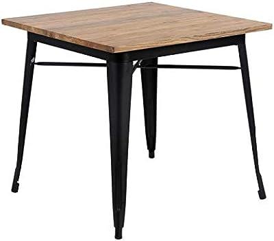 Zons Table CARRÉ Retro 4 Personnes Industrielle INSPIRÉE TOLIX, 80x80xH75 CM