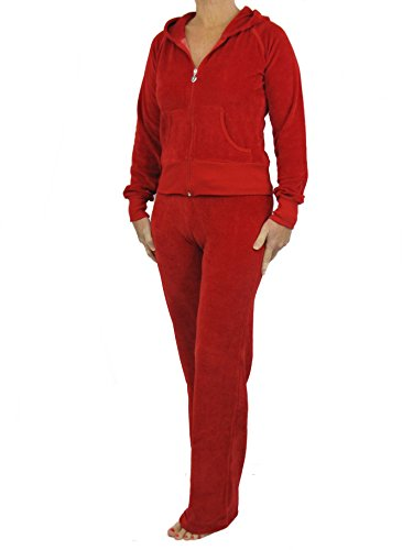 Love Lola Damen Velours-Trainingsanzug, Luxus-Lounge-Anzug, mit Kapuze, Designer-Inspiriert. Gr. 36, rot