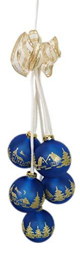 Ingbertson 35.067.53 Glaskugelgehänge 5-tlg. Kugelgehänge Glaskugelschmuck elektrisch beleuchtet Advent Weihnachten zur Dekoration Made in Germany (blau, 5-teilig)