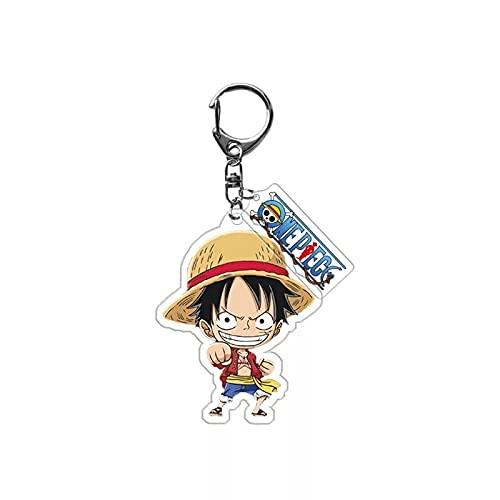 JKDFGJ Una pieza Cosplay llavero Luffy acrílico figuras de dibujos animados llavero Anime juguetes bolsa encanto