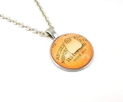Stechschmuck Halskette mit Anhänger Amulett Medaillon Talisman Ouija Brett Hexenbrett Halloween Silber Farben Damen Kitsch Kawaii 27mm