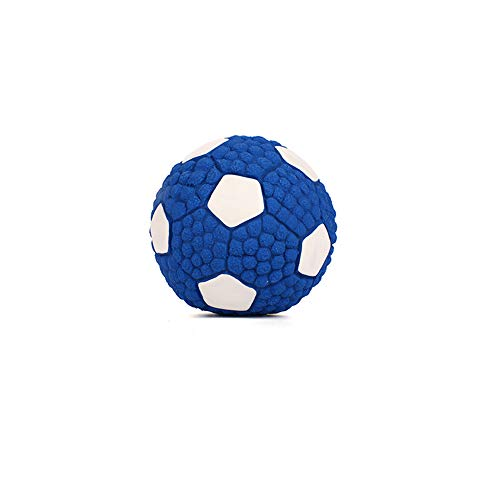 KDSANSO Hundespielzeug Fußball, Hundespielball Hunds-Bouncy-Ball beißen beständiger und unzerstörbarer Hundetraining Ball, Katze Haustier Gummi Bouncy Ball (Fußball),Blauer Diamant 9.5cm