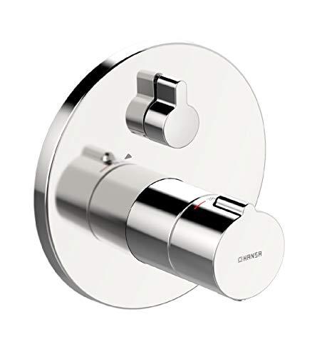 Hansa 88619045 Brausebatterie / Thermostat-Batterie | mit integrierter keramischer Mengenregulierung, Sicherheitssperre bie 38°C, Schalldämpfer | Durchflussmenge: 24 l/min bei 3 bar