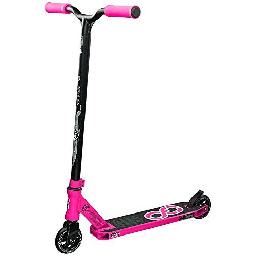 Infinity Scooters Patinete Freestyle para Adultos y Niños a Partir de 8 años - Patinete de Trucos y Saltos con Rodamientos ABEC-9 Ruedas 100mm de PU con Barra 360 Grados (Flare Rosa)