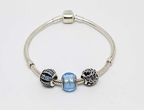 PANDACHARMS 925 Silber Damen Armband mit Charms 'Blaue Eleganz' passt zu Pandora