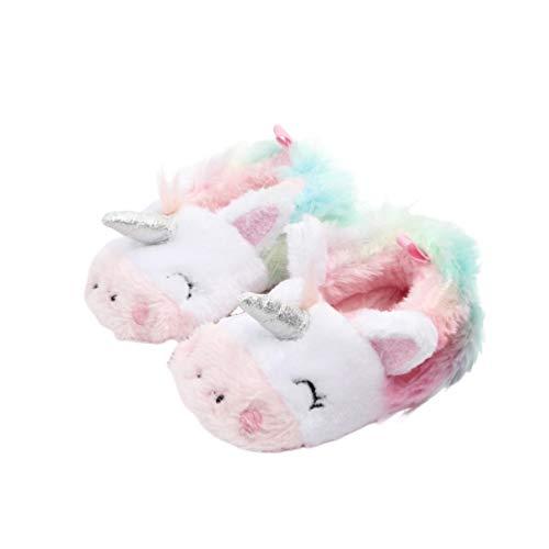 bebé niño Felpa Suave algodón Unicornio casa Zapatos Zapatillas Lindo Fuzzy Invierno Interior Dormitorio Zapatos