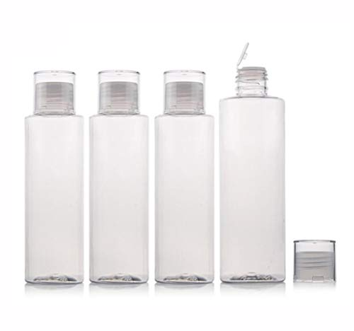 5 oz Clear Plastic Empty Bottles Travel Bottle Container with Flip Cap BPA -free Sample Tube Jars for Cosmetic Bath Shower Gel Lotion Liquid Shampoo - Set of 4