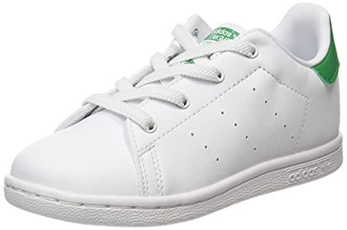 adidas Stan Smith El I, Scarpe da Ginnastica, Ftwr White/Ftwr White/Green, 25 EU