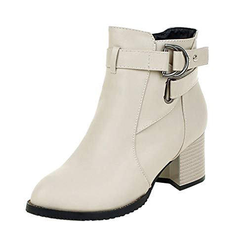 Best Review Of Hopwin Women's Closed Toe Buckle Booties | Ladies Fux Leather Chunky Heel Ankle Boots...