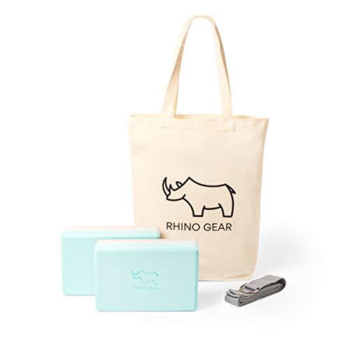 Rhino Gear 2 x Yoga Blocks plus Stretch strap with metal D ring | Premium Design, Non-...