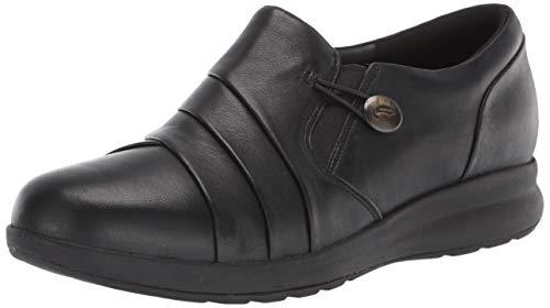 Clarks Women's Un Adorn Loop Loafer, Black Leather, 8 Narrow US