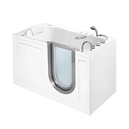 """55"""" x 30"""" Deluxe Massage Whirlpool Walk In Tub Door and Drain Location: Right"""