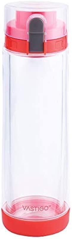 Vastigo 20 Oz Double Walled Borosilicate Glass Bottle W Strong Tritan Exterior For Extra Insulation Wrist Handle Red