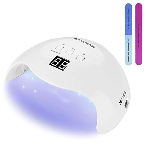NAVANINO Lámpara Secadora de Uñas LED/UV para Esmalte de Uñas de Gel, Curado Luz en 3 modos para tiempo, Modo de calor bajo 99s y Pantalla LCD. Para Manicura/Pedicura Nail Art en el Hogar ect (40W)
