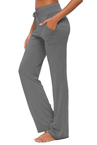 OURCAN Damen Yoga Hose Mit Taschen Breites Bein Kordelzug Lose Gerade Lounge Laufen Workout Modale Hose Aktive Freizeit Jogginghose (Dunkelgrau, L)