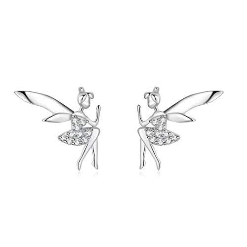 Qings Pendientes de hadas elfos Alas de moda Plata de ley 925 Regalos sorpresa para mujeres y niñas
