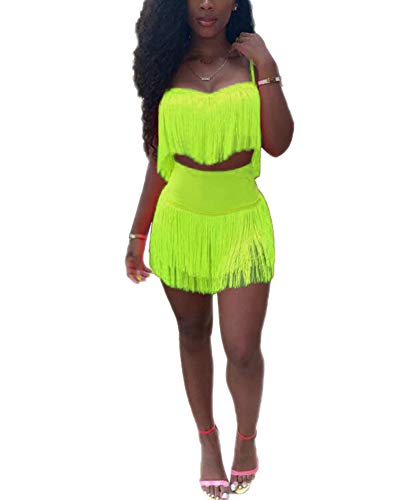Womens Sexy 2 Piece Outfits Sleeveless Crop Top Feather Tassels Bodycon Mini Dress Outfits Clubwear Green S