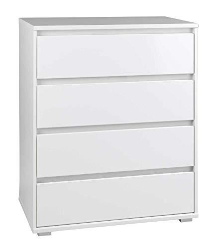 Möbel Jack Schubladenkommode Sideboard Anrichte | Dekor | Weiß matt | 4 Schubladen | 80x103x48 cm