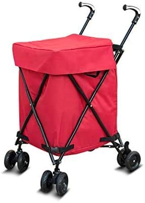 CART Wagen, Einkaufswagen Faltbar, Supermarkt/Multifunktions-Universal-Klapprad/Werkzeugwagen/Oxford High Performance Waterproof Cloth,Rot