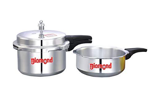 MAHAVIR Diamond Aluminium 3 L Pressure Cooker (ISI) and Pan Combo Pack Set (Silver)