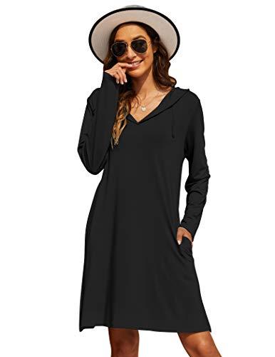 Wildtrest Womens Dress Cover Up Formal Swim Shirt Sun Protective Beach Sports Dresses(Black, XL)