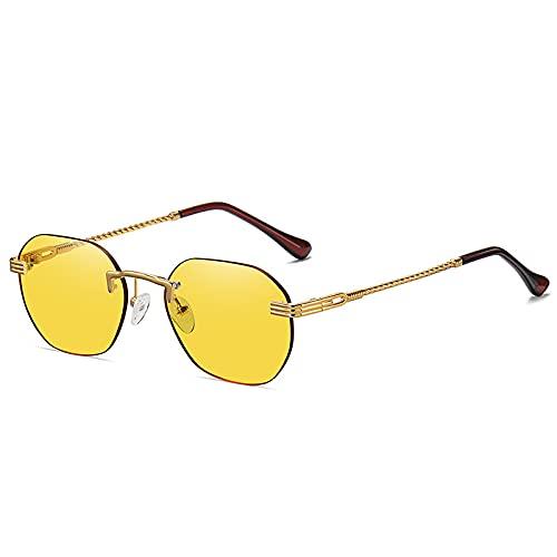 Gafas de sol de metal sin marco para hombres y mujeres de la calle de pequeño marco de moda Gafas de sol de metal gradiente multicolor, Marco Dorado Película Amarillo C8,