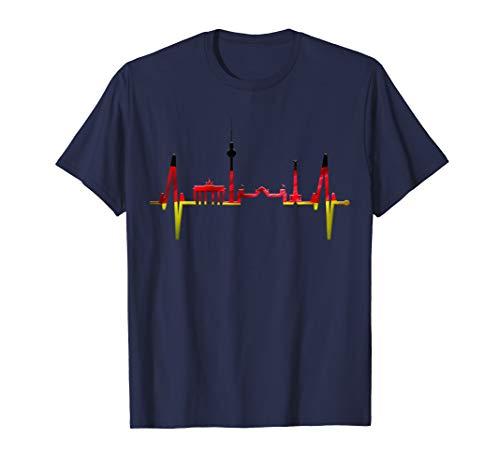 Berlin Herzschlag Skyline Deutschland Flagge Fahne Berlin T-Shirt