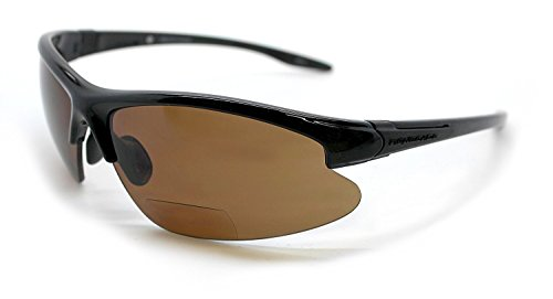 Renegade Patented Bifocal Polarized Reader Half Rim Men's Fishing Sunglasses 100% UV Protection with Microfiber Bag (Glossy Black Frame, Brown Lens - 600901, Bifocal +2.00)