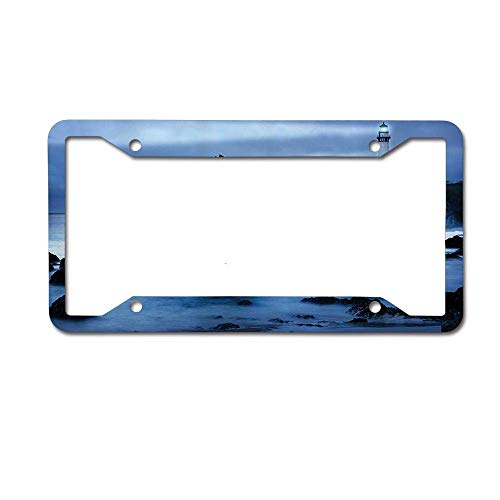 Headwind GR License Plate Frame Auto Truck Car Front Tag Metal 6'x12' inch Lighthouse at The California Coast with Light Beam Peaceful Foggy Surface Twilight Image