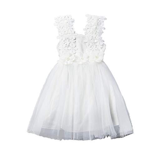 WangsCanis Vestido para niña de 2 a 7 años, de verano, elegante, de princesa, de tul, de manga corta, con lentejuelas, para fiesta de ceremonia
