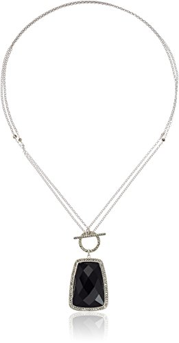 Judith Jack Sterling Silver/Swarovski Marcasite Black Agate Convertible Pendant Necklace, 38