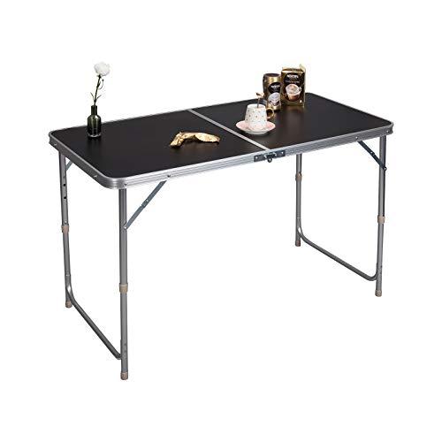 eSituro Campingtisch Reisetisch zusammenklappbar Pickniktisch höhenverstellbar 120x60x55-62-70cm, Tischplatte aus MDF, Schwarz