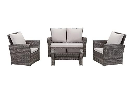 Esterno Living Shadow Grey Rattan Garden Furniture Sofa Set Sofa 4 Seater Wicker Patio Weave...