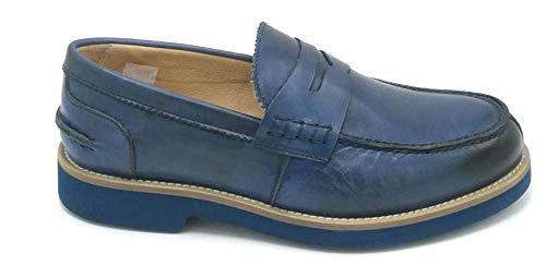 EXTON 2102 Mocassino Pelle Blu W - Taglia Scarpa 43 EU Colore Blu
