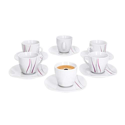 Van Well | 12-TLG. Espressotassen-Set Melina | 6 kleine Tassen 80 ml + 6 Unterteller | abstraktes Streifen-Dekor | grau-lila | edles Porzellan-Geschirr