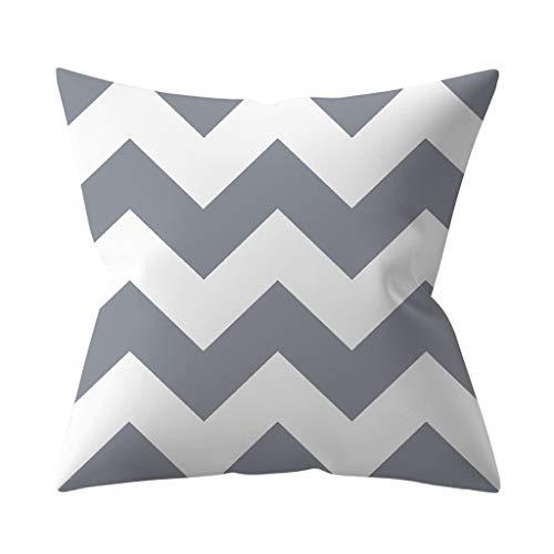 Mentin - Funda de cojín decorativa, diseño geométrico, color gris y blanco I