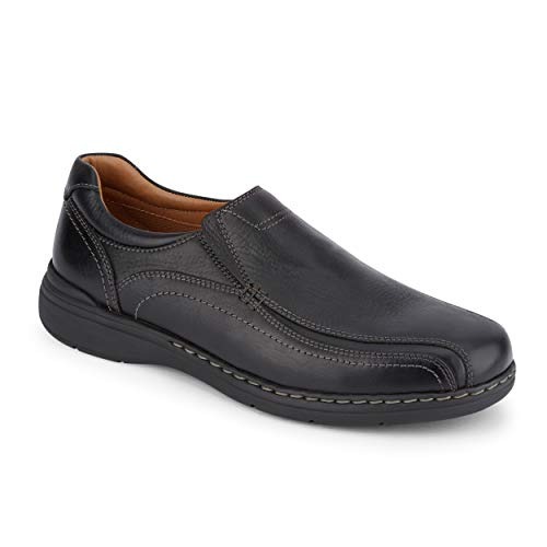 Dockers Mens Mosley Leather Dress Casual Slip-On Shoe, Black Tumbled, 8 M