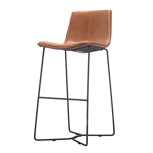 JH-Barhocker Eisen-Barstuhl, Retro-PU-Ledersessel, 75 cm hohe Barhocker, Rezeption, brauner Stuhl im Café