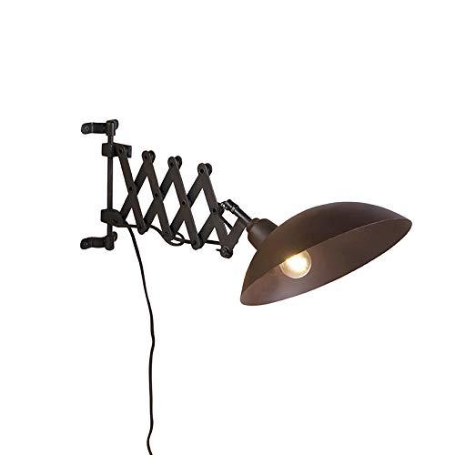 QAZQA Aplique industrial brazo acordeón bronce negro - TYNE Acero Alargada/Orgánica Adecuado para LED Max. 1 x 40 Watt
