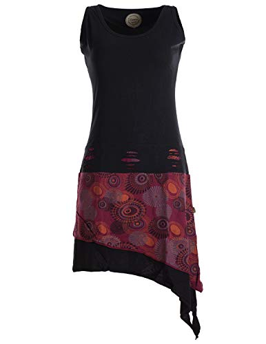 Vishes - Alternative Bekleidung - Ärmelloses asymmetrisches Lagenlook Zipfelkleid schwarz 46-48