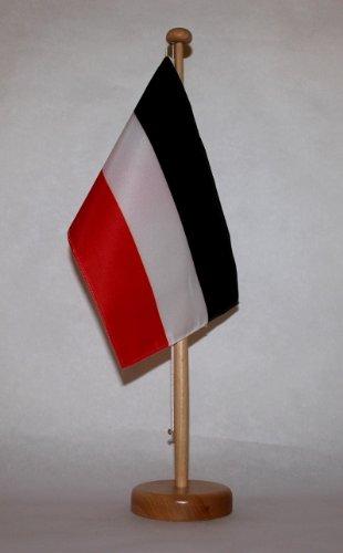 Buddel-Bini Deutsches Kaiserreich Tischflagge 15x25 cm in Profiqualität, mit 42 cm Massivholz - Tischständer