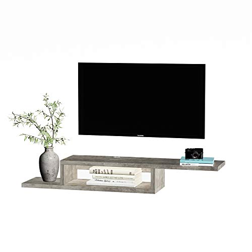 HOMCOM TV Hängeschrank Lowboard Hängeboard Fernsehschrank Multimedia Konsole Spanplatte Zementgrau 152,4 x 29,8 x 21 cm