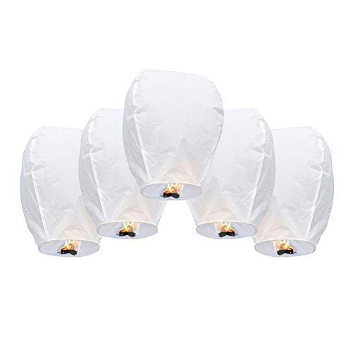 BASOYO Linternas de Cielo voladoras Chinas Linterna de Papel Resistente al Fuego Linternas de Deseos Chinos Lámparas de Velas voladoras, Linternas Chinas Linternas de Papel voladoras Biodegradables